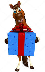 3d rendered ilration of horse cartoon character with giftbox photo by visible3dscience