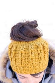 Crochet Bun Hat Free Pattern Best FREE Pattern] This Stylish Crochet Messy Bun Beanie With Faux Cables