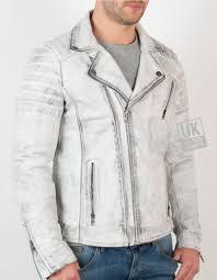 mens cross zip leather biker jacket vortex vintage white front side