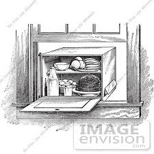 vintage window drawing. #61335 retro clipart of a vintage window box refrigerator in black and white - royalty drawing