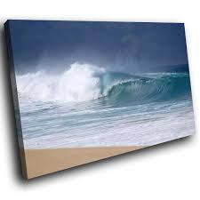 sc987 ocean waves crashing beach scenic wall art picture large canvas print