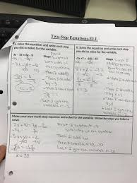 students will practice solving two step equations and write each step with the help of the provided words bank the sentences starters first four pages