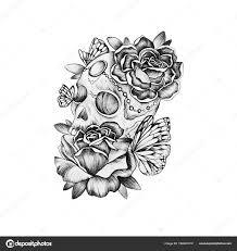 эскиз череп с цветами эскиз черепа в цветы на белом фоне череп с