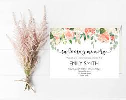 memorial service invitation memorial service etsy