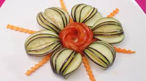 Garnish Design Beautiful Tomato Flower Egg Plant With Art Of Carrot