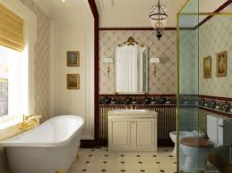old fashioned interior bathroom decorations white bathtub two toned walls off white bathroom cabinet antique