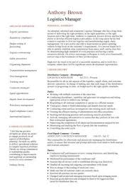 Example Of A Supply Chain Manager Cv Template Logistics Suppliers