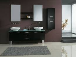 elegant black wooden bathroom cabinet. furniture double rectangle black wooden washstand vanity with white sinks and stainless steel faucets elegant bathroom cabinet