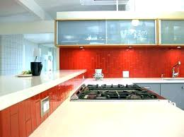 faux glass tile wallpaper red subway raised kitchen designs for walls