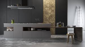Black Top Kitchen Designs Gold Panel Kitchen Black Cabinetry Grey Benchtop Awesome