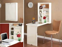 Three versions of wall mount folding desk and storage