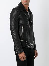 black lambskin belted accent biker jacket from balmain men jackets balmain t shirts