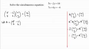 simultaneous equations matrix method examsolutions