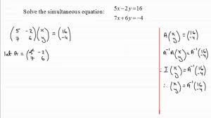 simultaneous equations matrix method examsolutions