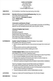 Manufacturing Engineer Resume Examples Industrial Engineer Resume Sample