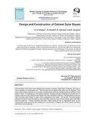 Design And Construction Of Solar Fish Dryer Pdf Design And Construction Of Cabinet Solar Dryers