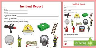 The Fire Station Aistear Incident Report Role Play Prop Form