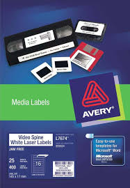 Avery White Removable Video Spine Labels L7674 25