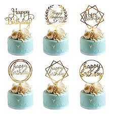 Amazoncom Whaline 6 Pack Happy Birthday Cake Topper Acrylic