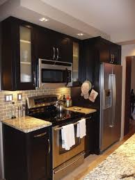 L Modern Small Kitchen Design With Black Painted Cherry Wood Kitchen