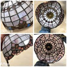 stained glass art glass bay area legacy glass studios antique glass old repair lampshade purple small