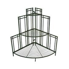 patio life mission pro 34 5 in x 35 in black steel corner plant stand