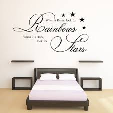 when it rains wall sticker on wall art sayings for bedroom with when it rains look for rainbows wall art quote sticker bedroom