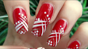 Red And White Nail Designs Easy Red Gold And White Abstract Design Nail Art Tutorial Homemade Tools