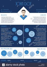 Modern Curriculum Vitae Resume Cv Design In Blue And White Stock