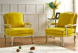 yellow french country accent chairs