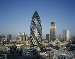 London Gherkin - an unusual eggshaped building by Norman Foster
