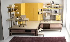 space saving. Two Desks On Raised Platform With Beds That Slide Underneath Space Saving T