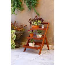 Wood Outdoor Three-Layer Plant Stand with Teak Finish - Free Shipping Today  - Overstock.com - 16949383