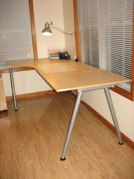 exciting office desk design with ikea galant and swing arm lamp plus cozy parkay floor