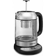 gourmia gdk290 electric glass tea kettle with built in precise steeping tea infuser programmable temperature