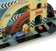 wooden toy garage with racetrack