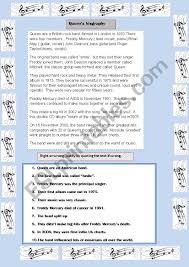 November 2009 Music Charts Queen S Biography Esl Worksheet By Catfaure