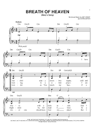 heaven piano sheet music breath of heaven marys song sheet music for piano and more