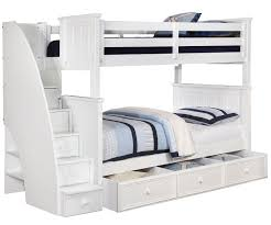 Brandon Full over Bunk Bed with Stairs in White | Allen House Kids Loft Beds and