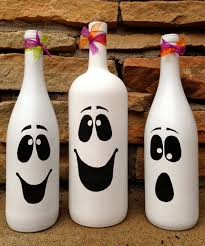 Wine Bottles Decorated For Halloween