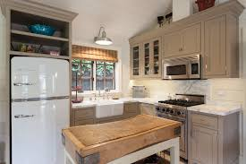 guest house kitchen. Taupe Kitchen Cabinets Farmhouse With Butcher Block Guest House. Image By: Peter Lyons Photography House