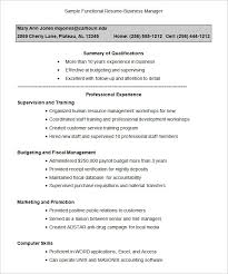 sample functional resume business manager functional resume format