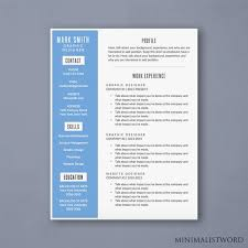 How To Get A Resume Template On Word 2010 Awesome Word Resume Template With Blue Sidebar Modern Resume Etsy