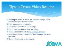 Video Resume Tips How To Create Resume Video Anjinho B