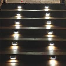 Garden & Patio Stainless Steel 3LED Solar Stair Light Outdoor Garden  Pathway Street Lamp #K Garden Lighting