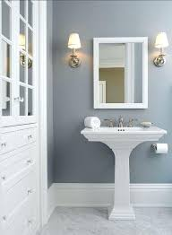traditional powder room with bianco carrara marble high ceiling wall mirrortraditional pedestal sink small