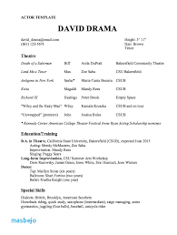 Musical Theatre Resume Examples Actor Resume Template Sample Resume