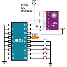 rf remote control encoder and decoder chip pinouts explained electronic circuit projects