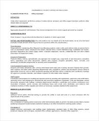 Office Assistant Duties On Resume Sample Office Assistant Job Description 8 Examples In Pdf