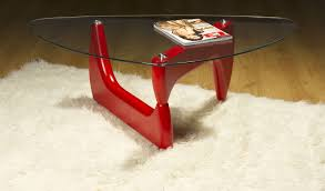 modena styled designer unique wood base coffee table in red black or white